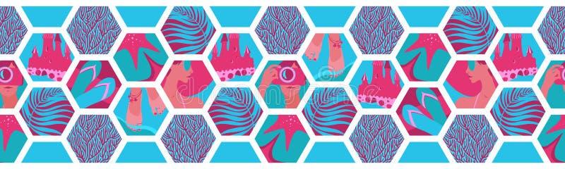 Geometrische horizontale nahtlose Grenze mit Sommerzeit-Hexagonformen Tropisches Meer des Vektors die blauen und rosa Fliesen, St stock abbildung