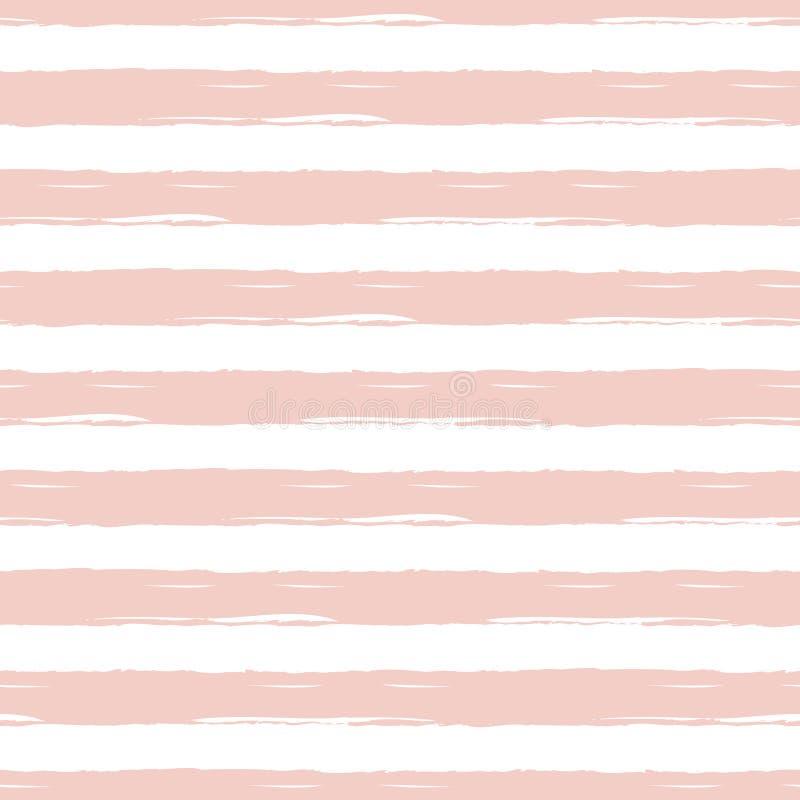 Geometrische horizontale roze de zomer leuke gestreepte structuur Vector naadloze achtergrond royalty-vrije illustratie