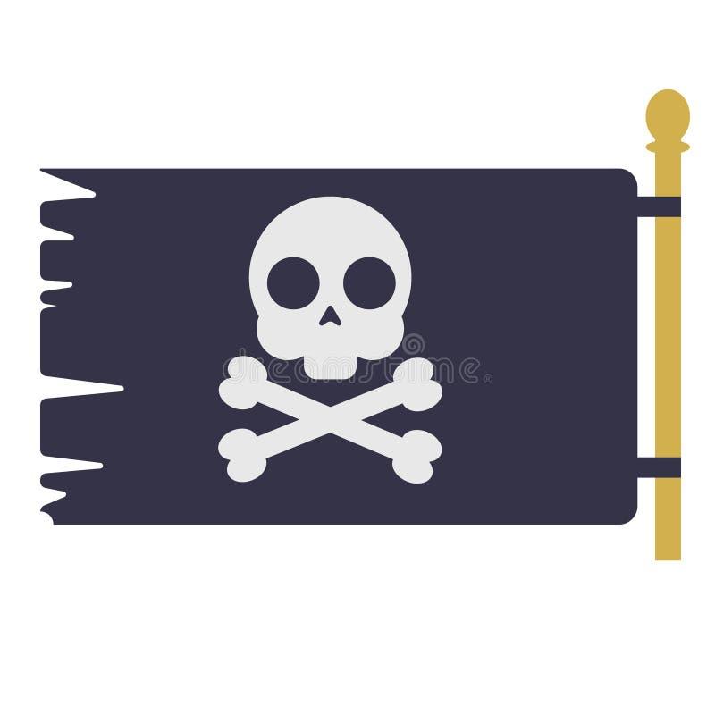 Geometrische Illustration der Piratenflagge lokalisiert auf Hintergrund stock abbildung