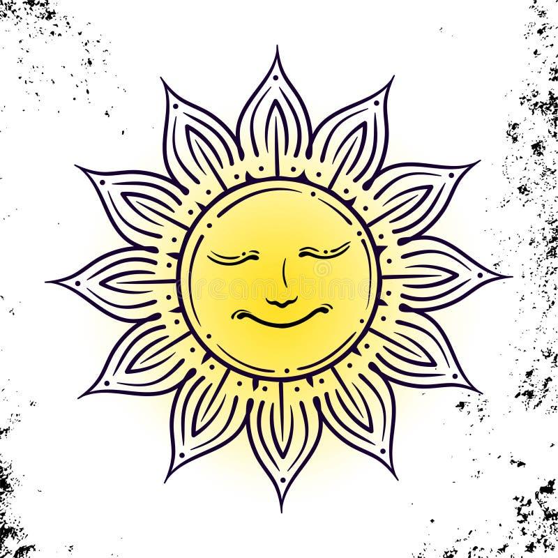 Geometrische Illustration des Vektors der mittelalterlichen Sonne Alchimiesymbol mit Augen und Gesicht Abstraktes geheimnisvolles vektor abbildung