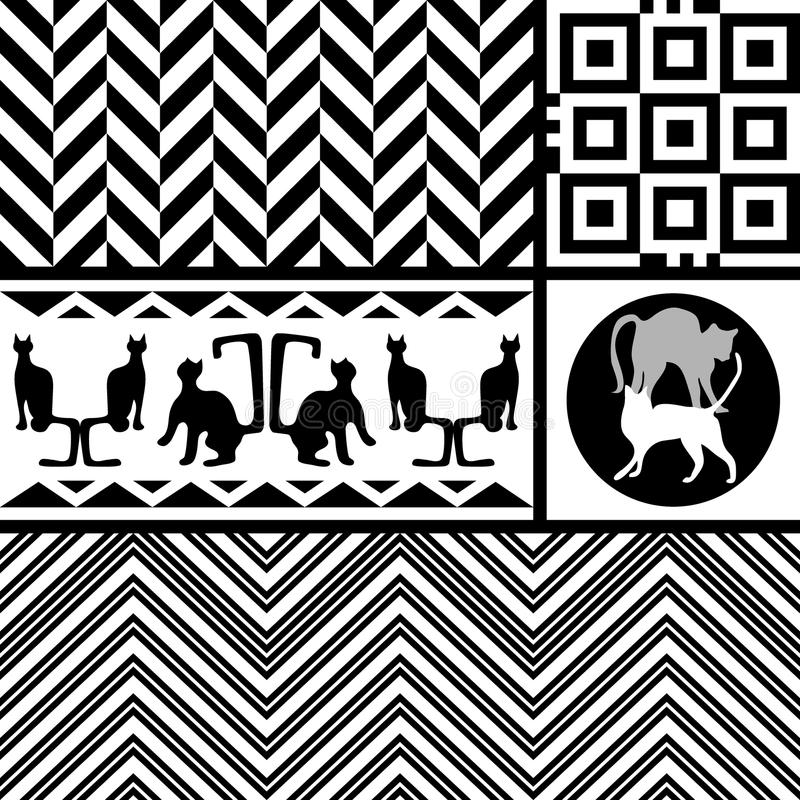 Geometrische katten Creatief modern sjaalontwerp royalty-vrije illustratie