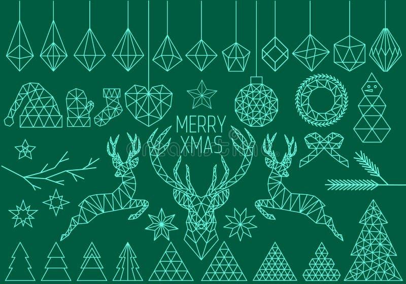 Geometrische Kerstmisreeks, vector royalty-vrije illustratie