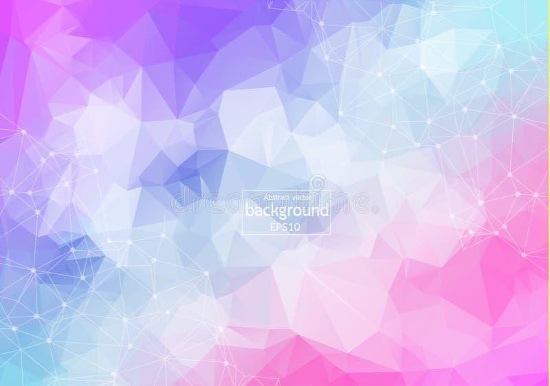 Geometrische kleurrijke Veelhoekige molecule en mededeling als achtergrond Verbonden lijnen met punten Minimalismachtergrond Conc vector illustratie