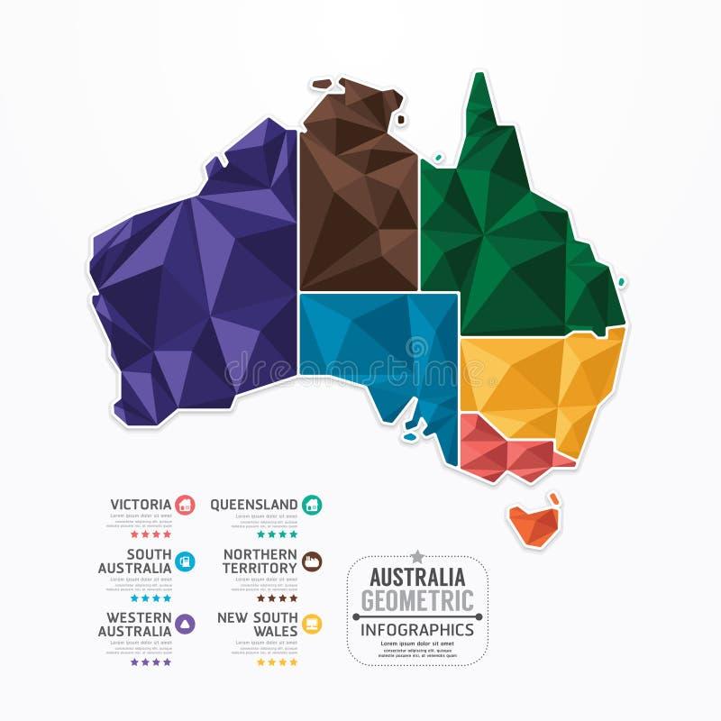Geometrische Konzeptfahne Australien-Karte Infographic-Schablone lizenzfreie abbildung