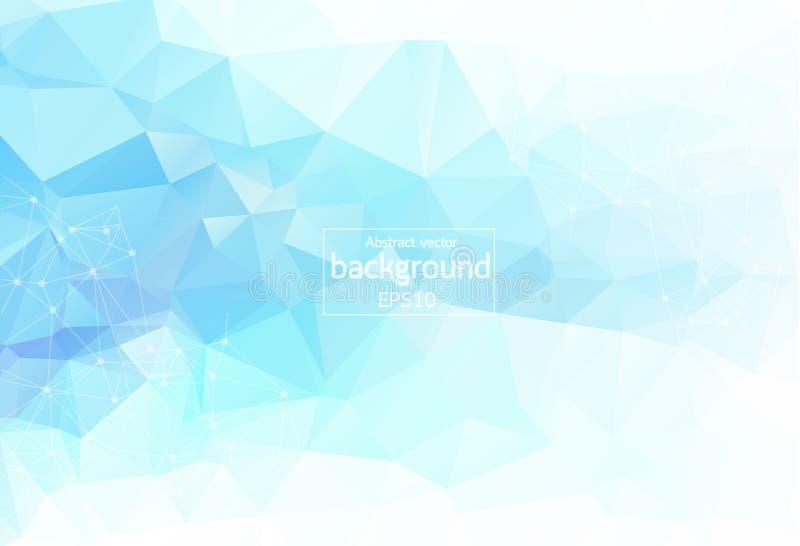 Geometrische Lichtblauwe Veelhoekige molecule en mededeling als achtergrond Verbonden lijnen met punten Minimalismachtergrond Con royalty-vrije illustratie