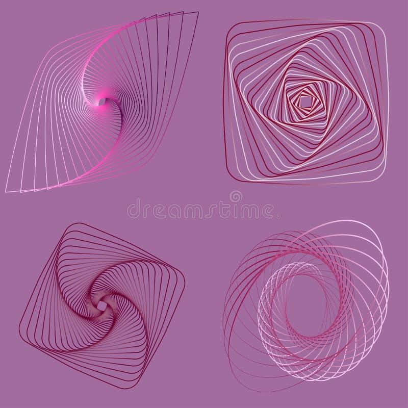 Geometrische lineaire kunst, achtergrond - reeks royalty-vrije illustratie