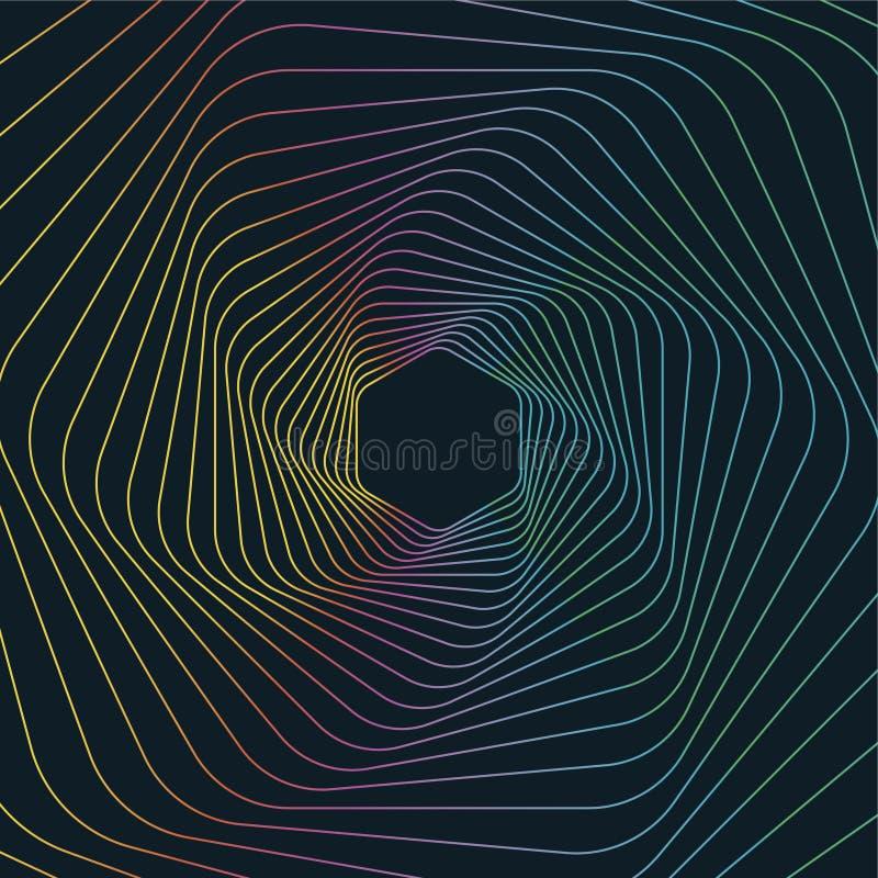 Geometrische Linie Art Background, abstrakter sechseckiger geometrischer Hintergrund lizenzfreie abbildung