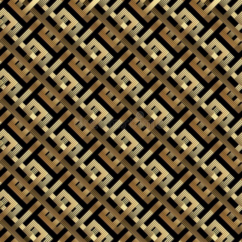 geometrische Linien nahtloses Muster des Gold 3d des Vektors Schrägstreifen, Linien, geometrische Formen Abstrakte aufwändige Geo lizenzfreie abbildung