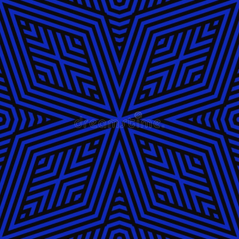 Geometrische Linien nahtloses Muster des Vektors Elektrische blaue Schwarzweiss-Verzierung vektor abbildung