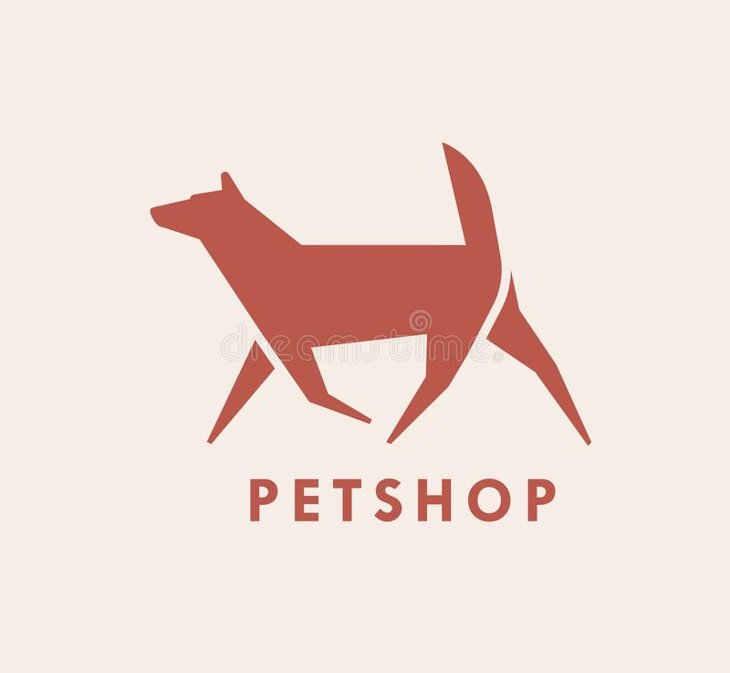 Geometrische logotype met silhouet van het lopen van hond Embleem met huisdier Gestileerd decoratief ontwerpelement vector illustratie