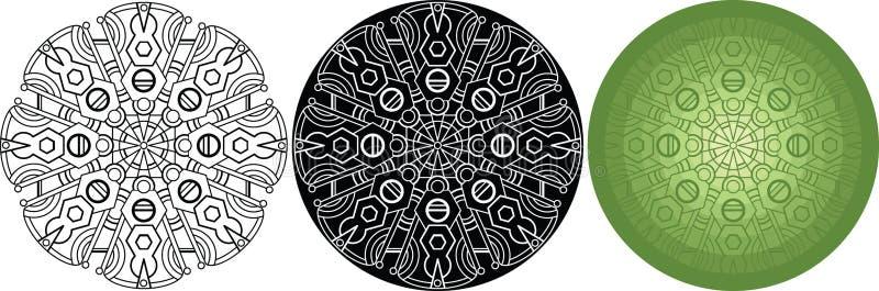 Geometrische mandala voor het kleuren van boek Zwart, wit, groen rond patroon stock illustratie