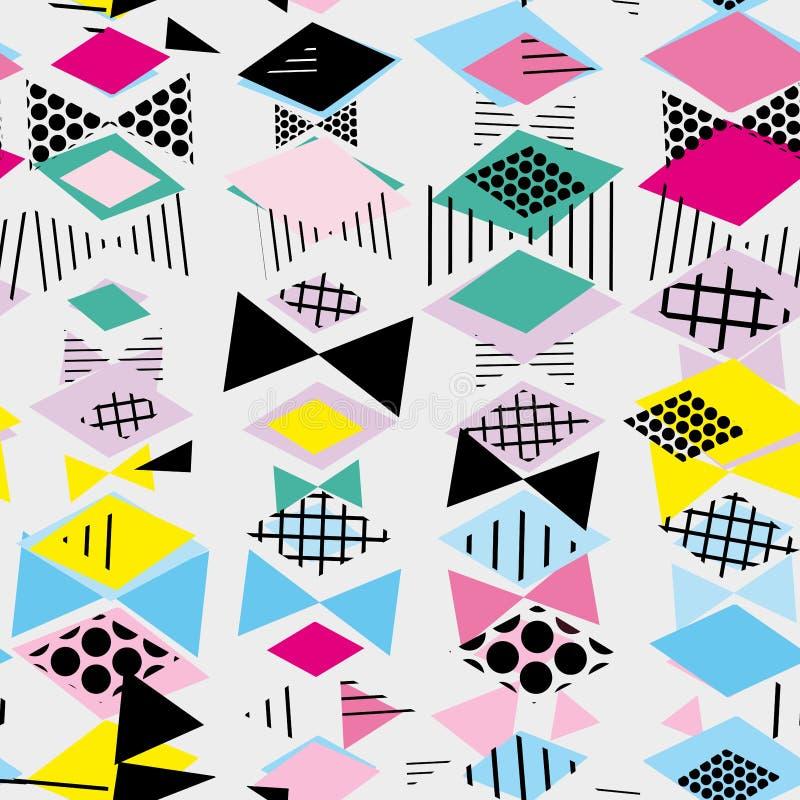 Geometrische Memphis Postmodern Retro-Art 80-90s nahtloses Muster des asymetrischen Formen Rauten-Dreiecks Gelbes grün-blaues ros lizenzfreie abbildung