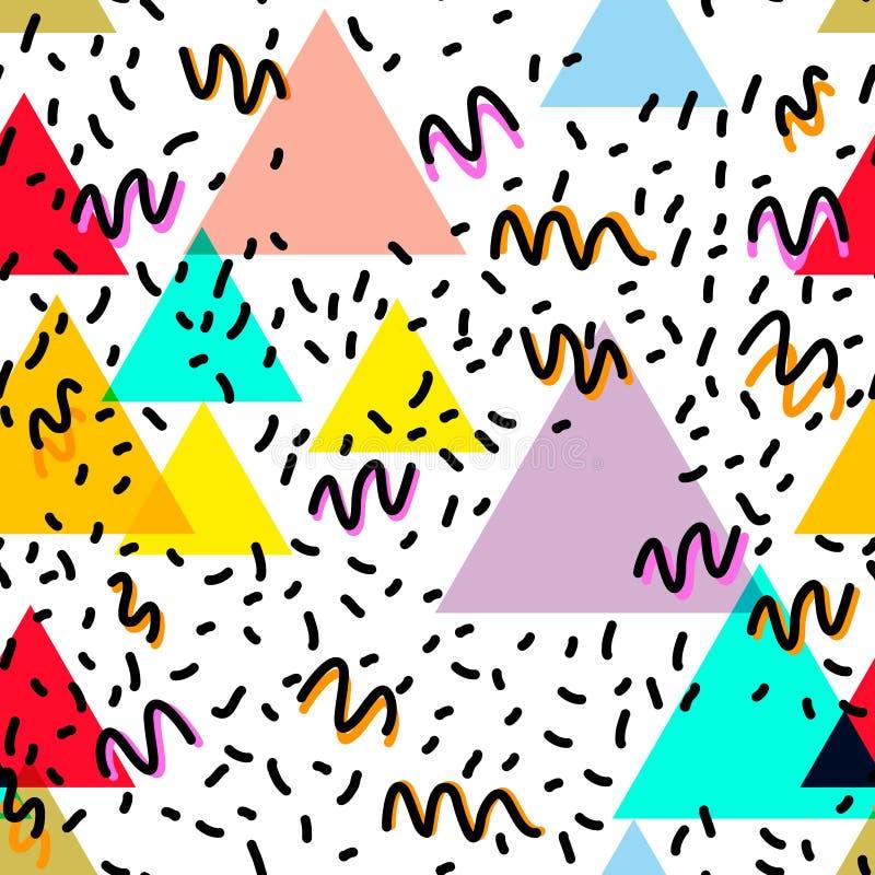 Geometrische Memphis Postmodern Retro-Modeart 80-90s des asymetrischen nahtloses Muster Form-Dreiecks der Beschaffenheit lokalisi lizenzfreie abbildung
