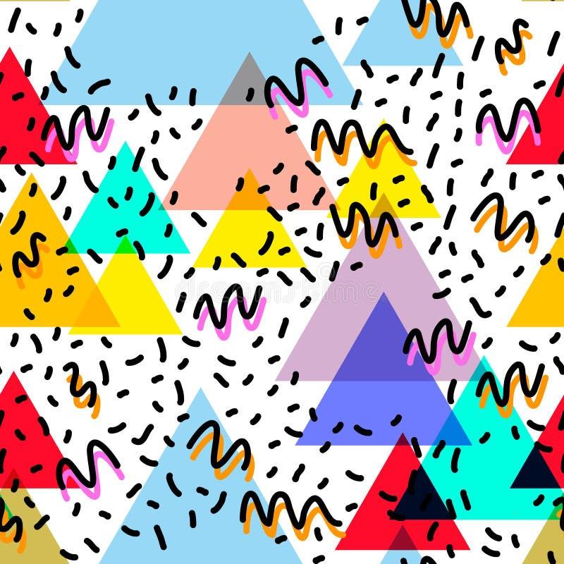 Geometrische Memphis Postmodern Retro-Modeart 80-90s des asymetrischen nahtloses Muster Form-Dreiecks der Beschaffenheit lokalisi stock abbildung