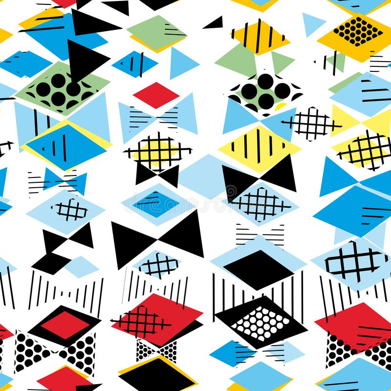 Geometrische Memphis Postmodern Retro-Modeart 80-90s nahtloses Muster des asymetrischen Formen Rauten-Dreiecks Gelbes grün-blaues stock abbildung