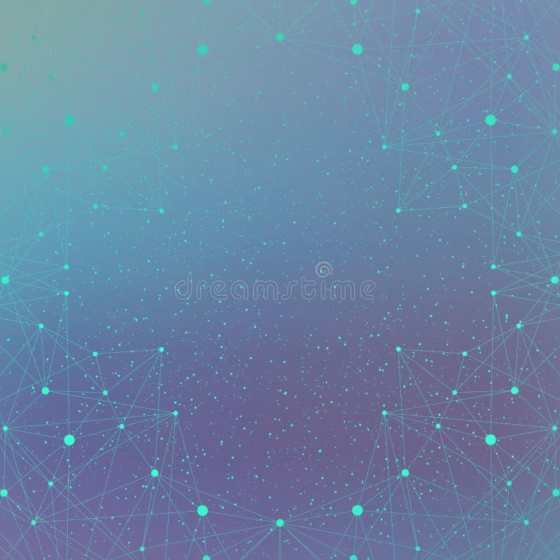 Geometrische molecule en mededeling als achtergrond voor uw ontwerp vector illustratie