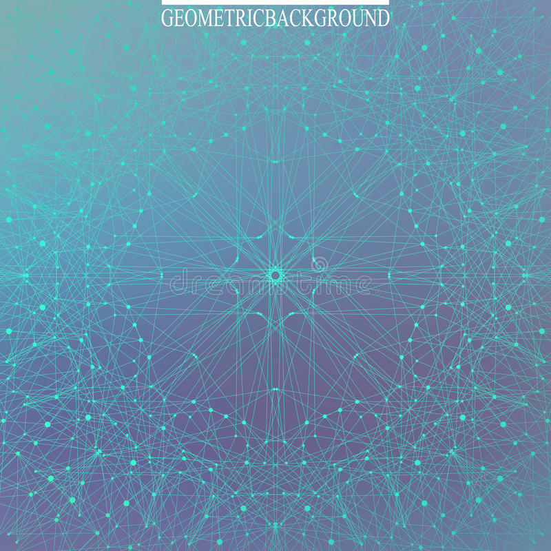 Geometrische molecule en mededeling als achtergrond voor uw ontwerp Verbonden lijnen met punten Vector illustratie stock illustratie