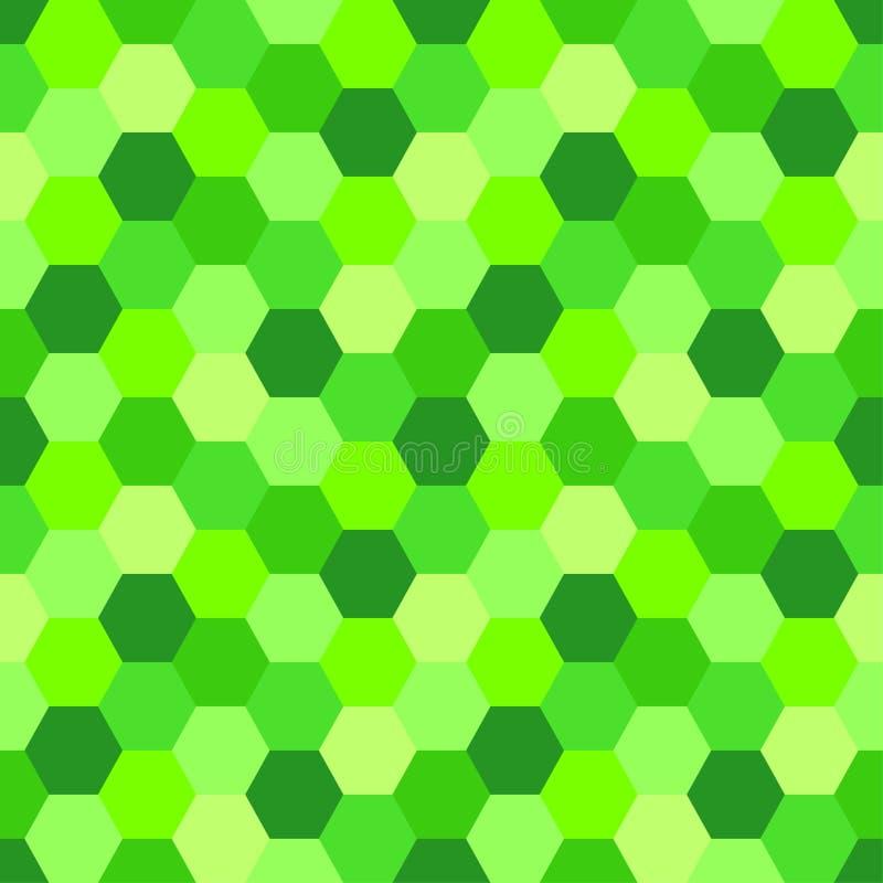 Geometrische Naadloze Abstracte Achtergrond met Hexagon vormen als mozaïekpatroon in in Groen de kleurenufo van 2019 royalty-vrije illustratie