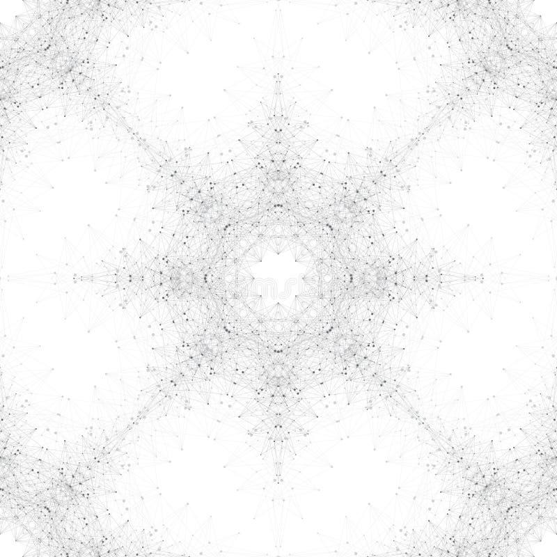 Geometrische naadloze illustratie Molecule en mededeling Verbonden lijnen met punten Concept de wetenschap stock illustratie