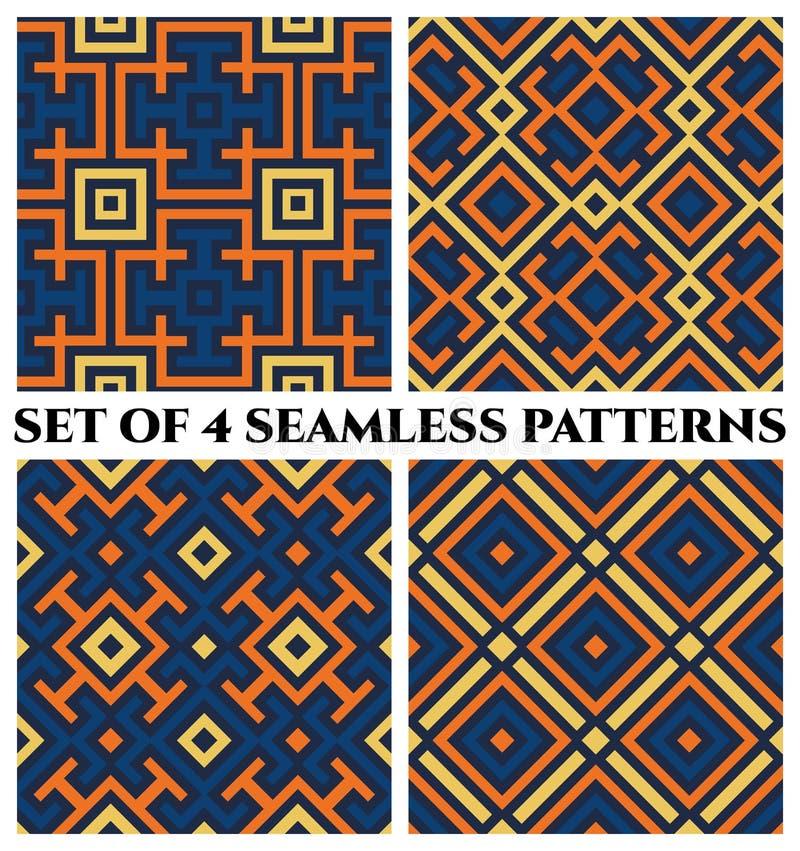 Geometrische naadloze patronen met decoratief ornament van blauwe, oranje, en gele schaduwen vector illustratie
