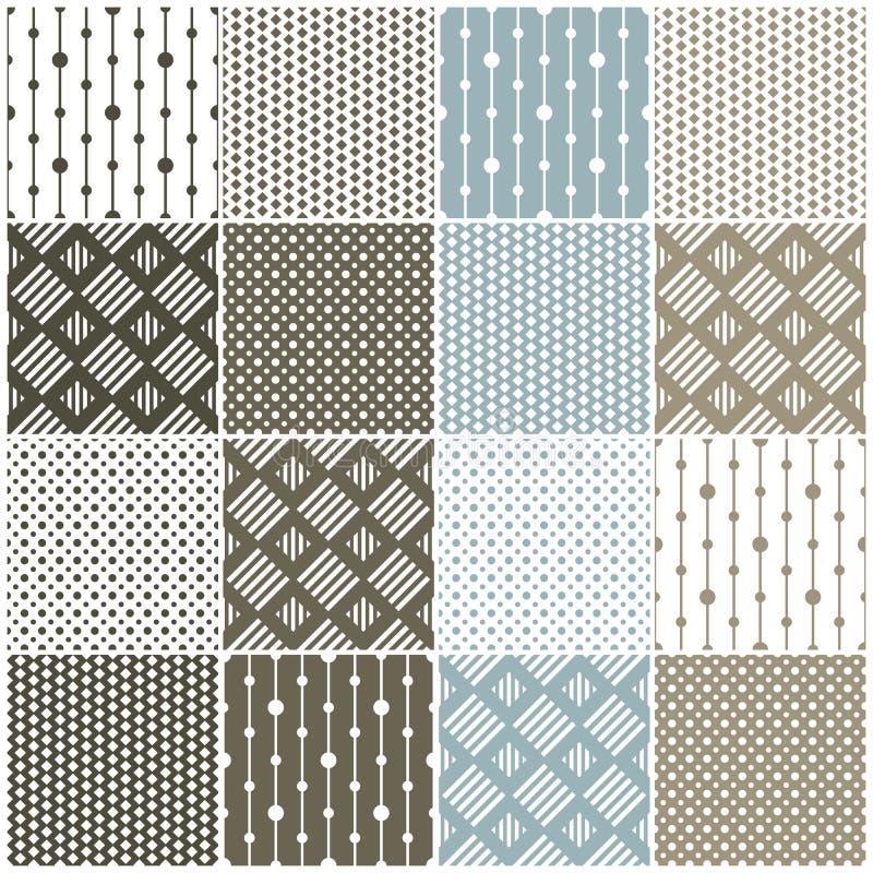 Geometrische naadloze patronen: punten, vierkanten vector illustratie