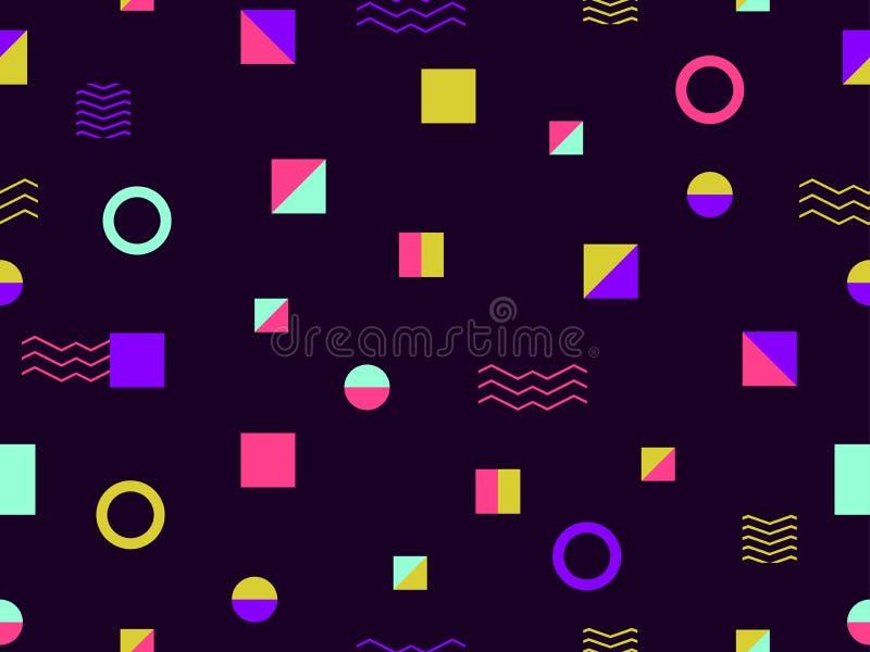 Geometrische naadloze patroonstijl van de jaren '80 Driehoeken, cirkels en punten Achtergrond voor verpakkend document vector illustratie