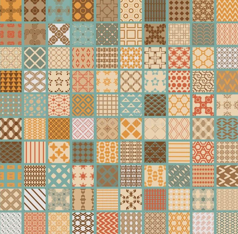 100 geometrische nahtlose des Retro- Satzvektors lizenzfreie stockbilder