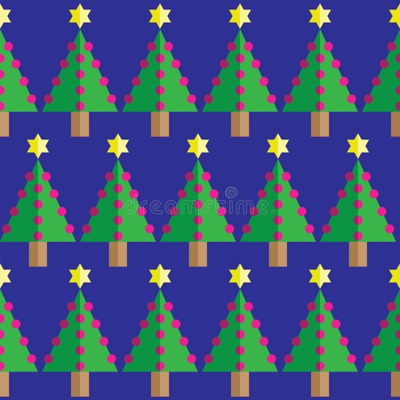 Geometrische nahtlose Muster Weihnachtsbäume, rosa Flitter und Stern in zwei Schatten auf dunkelblauem Hintergrund vektor abbildung
