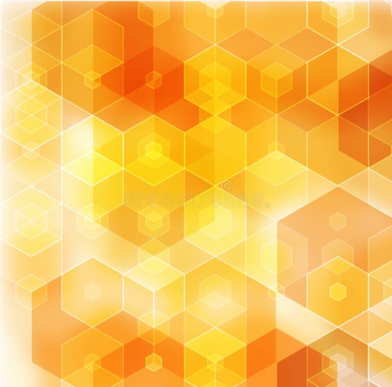 Geometrische oranje achtergrond met driehoekige veelhoeken Abstract ontwerp royalty-vrije illustratie