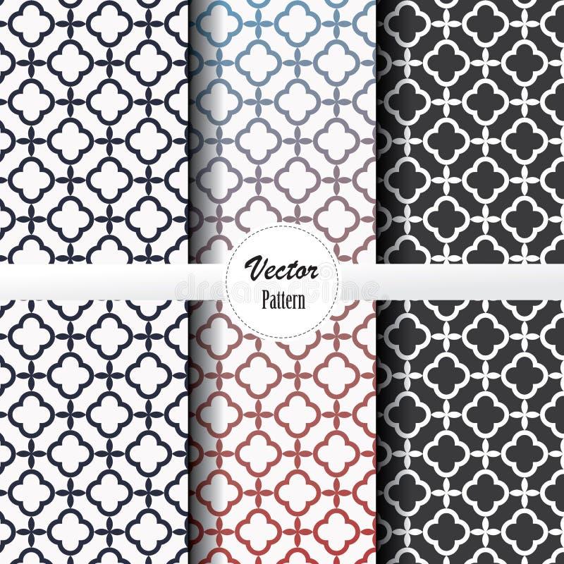 Geometrische patroon vectorreeks van cirkellijn met abstracte kleine bloemen voor flora in zwart-witte en gradiëntkleur stock illustratie