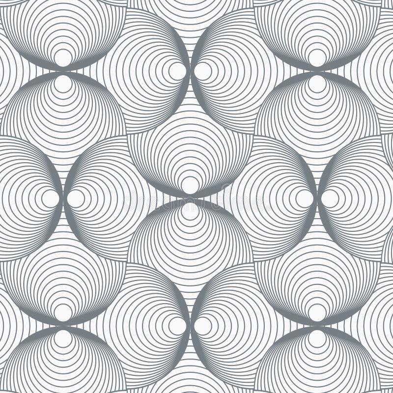 Geometrische patroonvector Vector die tegeltextuur herhalen Overlappend cirkels funky thema of abstracte spiraalvormige shell vector illustratie