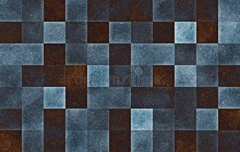 Geometrische quadratische Bl?cke der Steigung Blaue Funkelnzellbeschaffenheit entziehen Sie Hintergrund lizenzfreies stockbild
