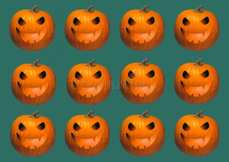 Geometrische Reihen Halloween-Hintergrundes von Leuchtorangekürbisen schnitzten glühendes Laternengesicht Jacks O auf dunkelgrüne vektor abbildung