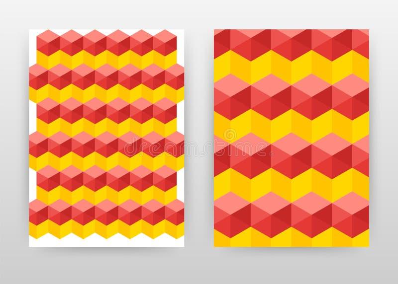 Geometrische rode gele naadloze zeshoeken ontwerp voor jaarverslag, brochure, vlieger, affiche Geometrische rode gele vector als  stock illustratie