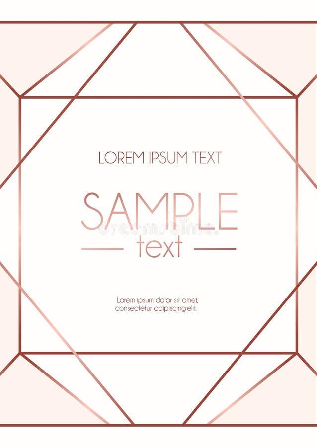 Geometrische rosafarbene Golddesignschablone mit rosa Hintergrund modern lizenzfreies stockfoto