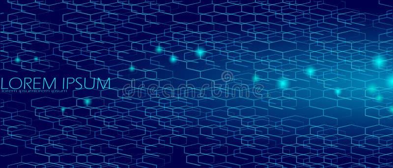 Geometrische ruimte hexagonale donkerblauwe abstracte achtergrond Van de overzeese de hemelconcept dieptenacht De strikte honingr vector illustratie