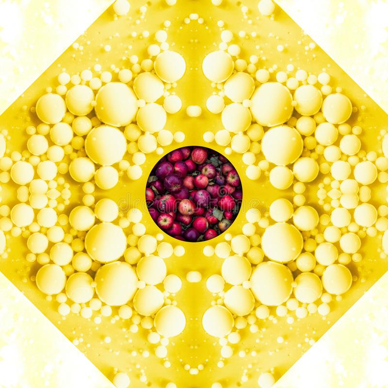 Geometrische samenvatting met appelen en gele vloeibare massa royalty-vrije illustratie