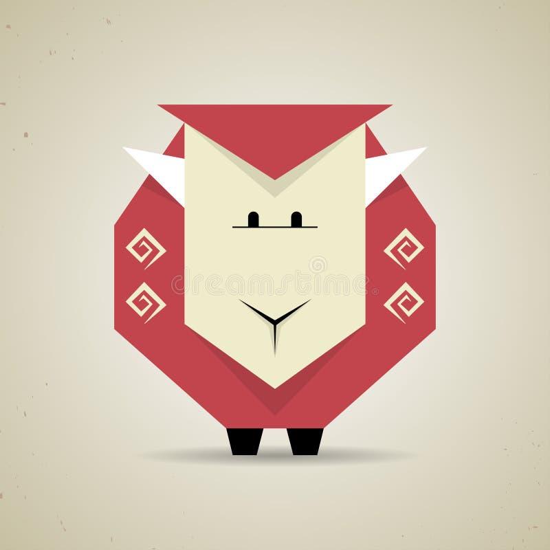 Geometrische Schafe des netten Origamis von gefaltetem Papier stock abbildung