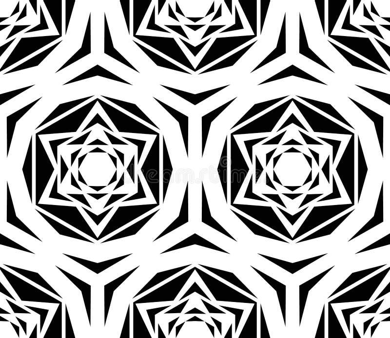 Geometrische schwarze Rose Tile Pattern vektor abbildung