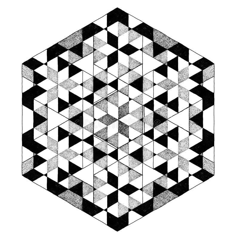 Geometrische Schwarzweiss-Mandala, Abstraktes Muster, Tätowierung ...