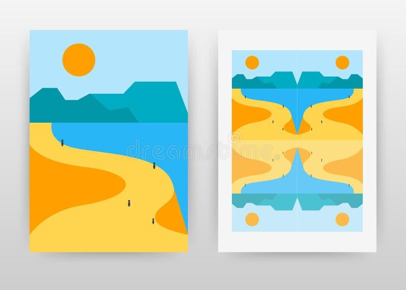 Geometrische Seeseite, Berge und Sonnengeschäftsentwurf für Jahresbericht, Broschüre, Flieger, Plakat Landschaftshintergrundvekto stock abbildung