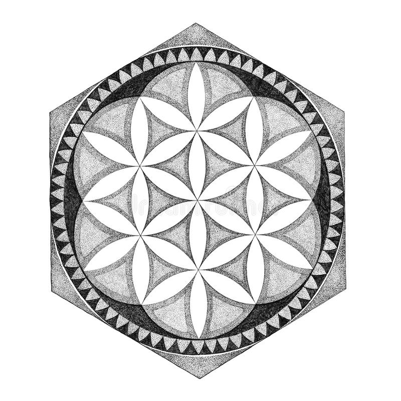 Geometrische tekeningsmandala, siert grafisch royalty-vrije illustratie