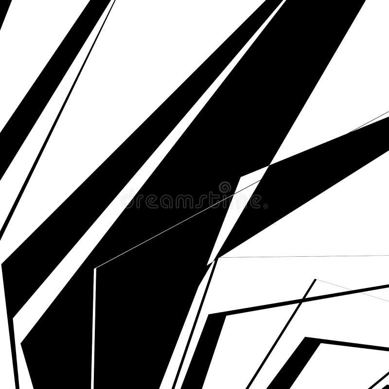 Geometrische textuur met willekeurige hoekige vormen Zwart-wit art. vector illustratie
