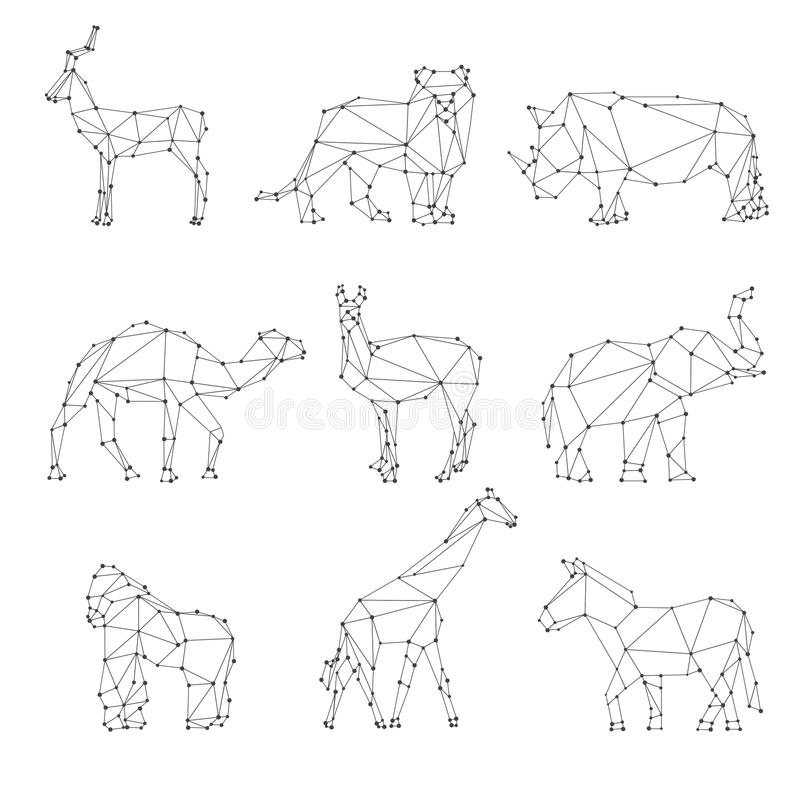 Geometrische Tierschattenbilder stock abbildung