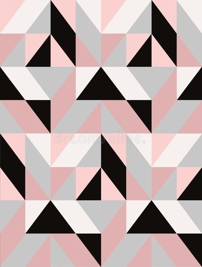 Geometrische vectormozaïektegel in zwarte, grijs en pastelkleurroze stock illustratie
