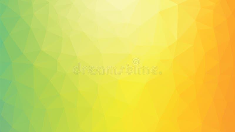 Geometrische veelhoekige groene geeloranje achtergrond royalty-vrije illustratie