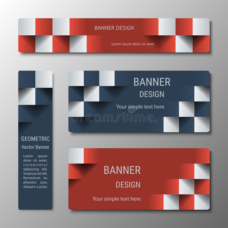 Geometrische verticale en horizontale rechthoekige banners van variërende breedte met het 3D effect voor een bedrijfswebsite stock illustratie
