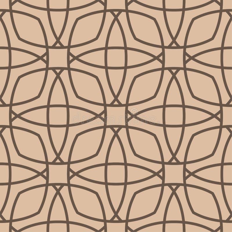 Geometrische Verzierung Beige und nahtloses Muster Browns vektor abbildung