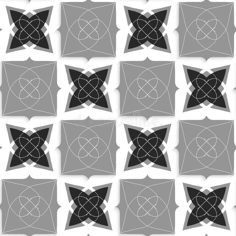 Geometrische Verzierung mit dünnen schwarzen und grauen Formen des Drahtes lizenzfreie abbildung
