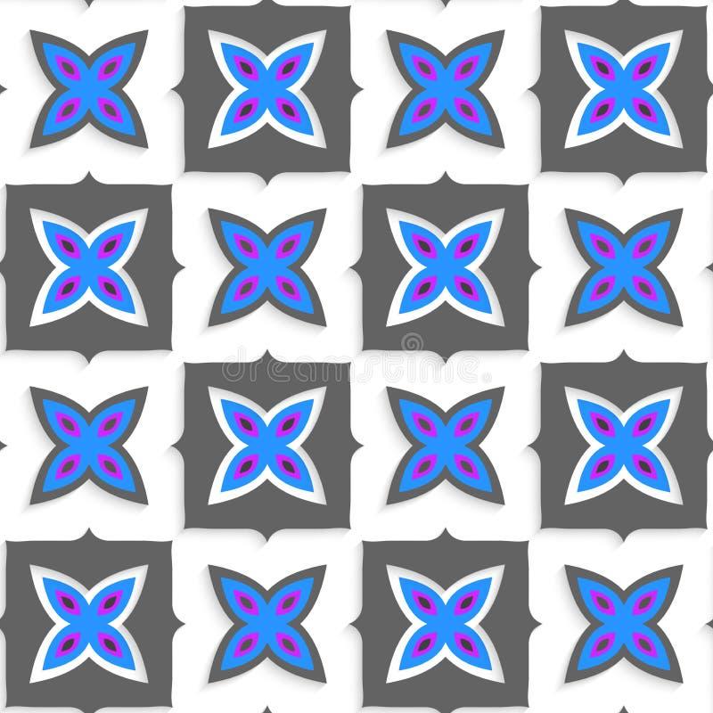 Geometrische Verzierung mit grauen Quadraten und blaue Blume auf Weiß lizenzfreie abbildung